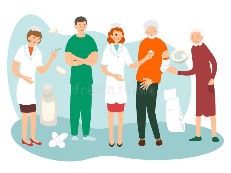 Paciente idoso Conceito dos cuidados médicos para pessoas idosas Homem doente Conceito dos cuidados m?dicos O doutor e a enfermei ilustração stock