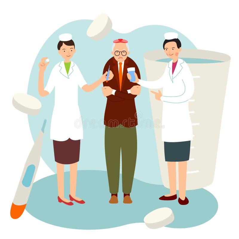 Paciente idoso da enfermeira no estilo liso dos desenhos animados Duas enfermeiras novas oferecem a ajuda a um homem mais idoso c ilustração royalty free