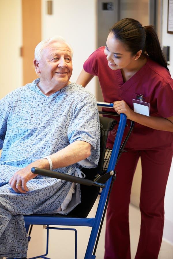 Paciente masculino superior que está sendo empurrado a cadeira de rodas pela enfermeira fotos de stock