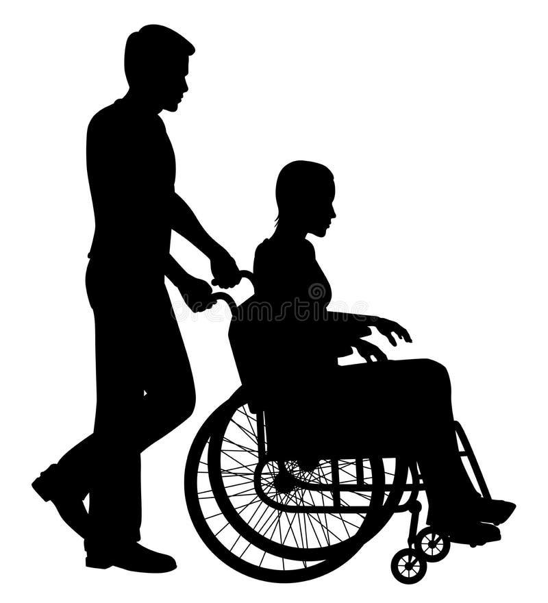Paciente na cadeira de rodas ilustração royalty free