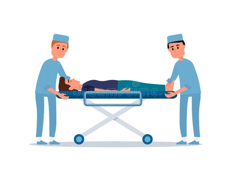 Paciente na ilustração lisa do vetor da maca ilustração royalty free