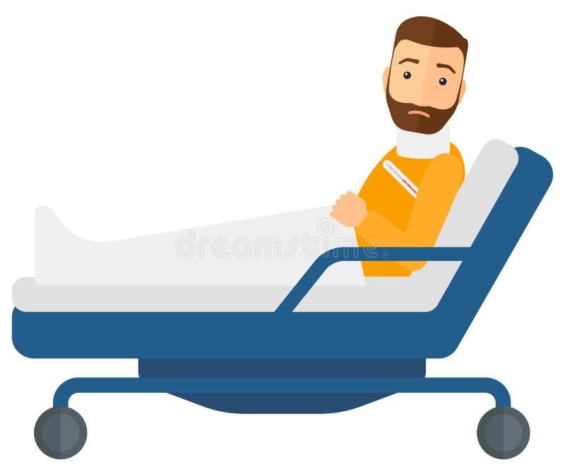 Paciente que encontra-se na cama ilustração stock