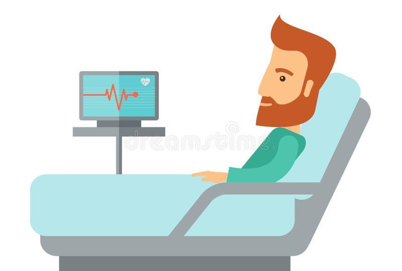 Paciente que encontra-se na cama de hospital ilustração do vetor