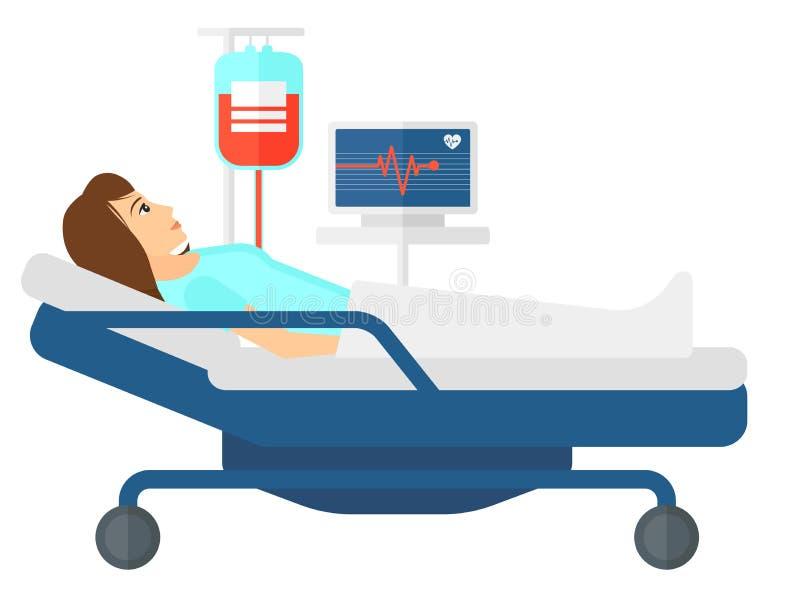 Paciente que miente en cama libre illustration