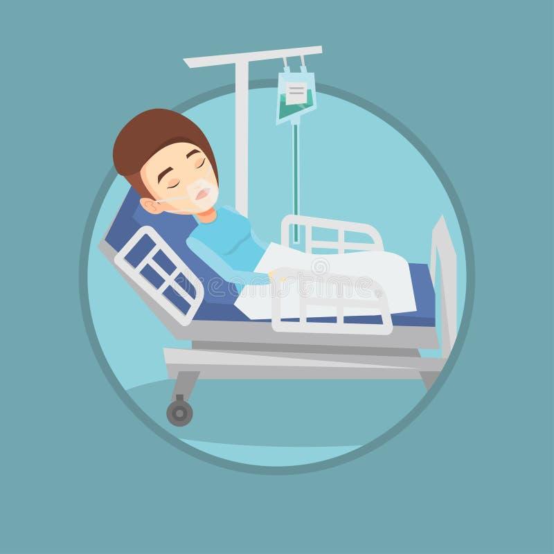 Paciente que miente en cama de hospital con la máscara de oxígeno libre illustration