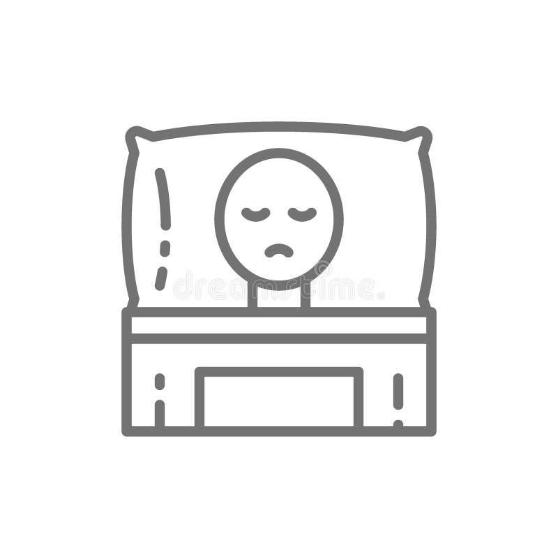Paciente que sofre de câncer na cama, linha ícone da oncologia ilustração do vetor