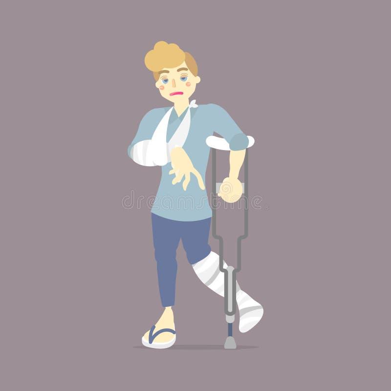 Paciente triste con el molde en la muleta de la tenencia de la pierna quebrada y del hueso de brazo, asistente que camina, concep stock de ilustración