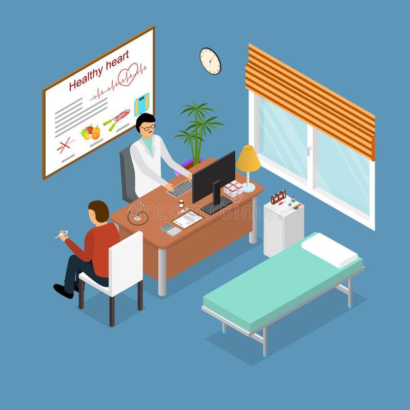 Paciente y el doctor Appointment Isometric View Vector stock de ilustración