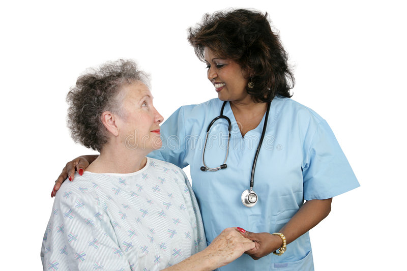 Paciente y enfermera imagenes de archivo