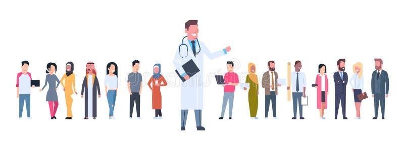 Pacientes de médico Over Group Of en bandera horizontal del fondo blanco stock de ilustración