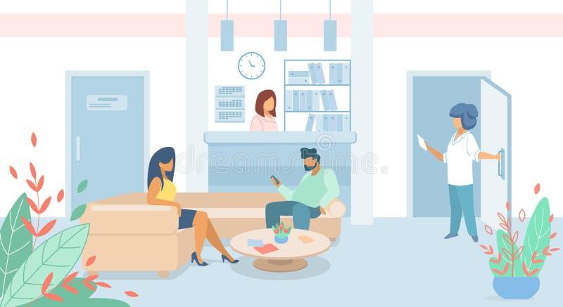 Pacientes do homem e da mulher que sentam-se na entrada da clínica ilustração stock