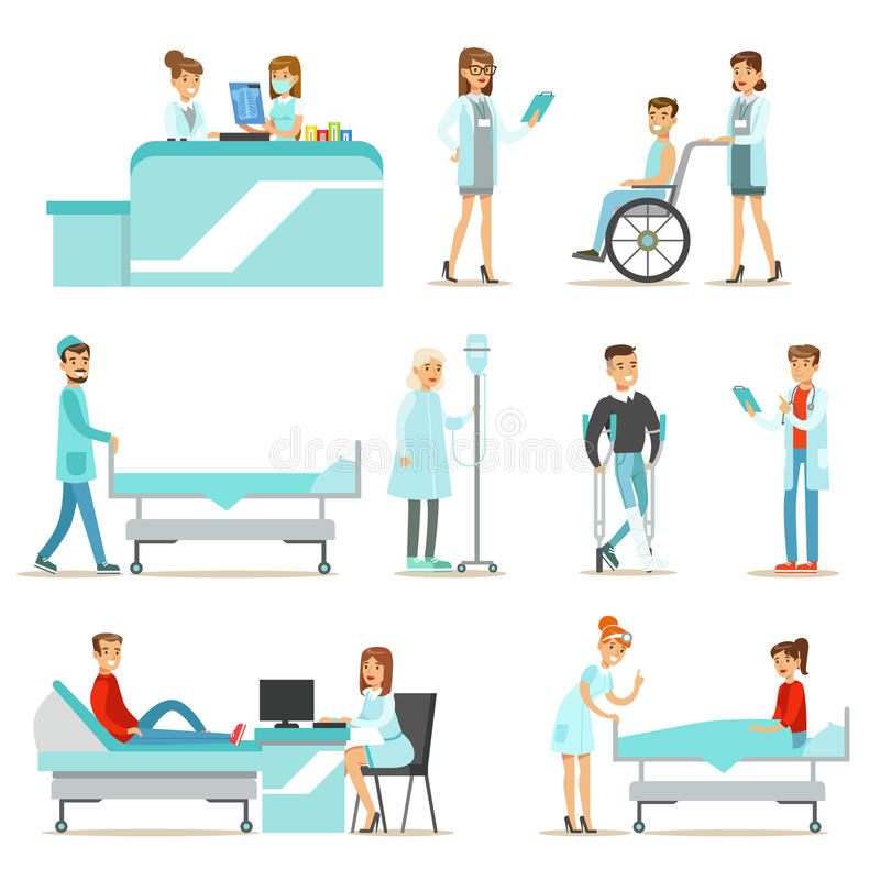 Pacientes feridos e doentes no hospital que recebe o tratamento médico ilustração do vetor