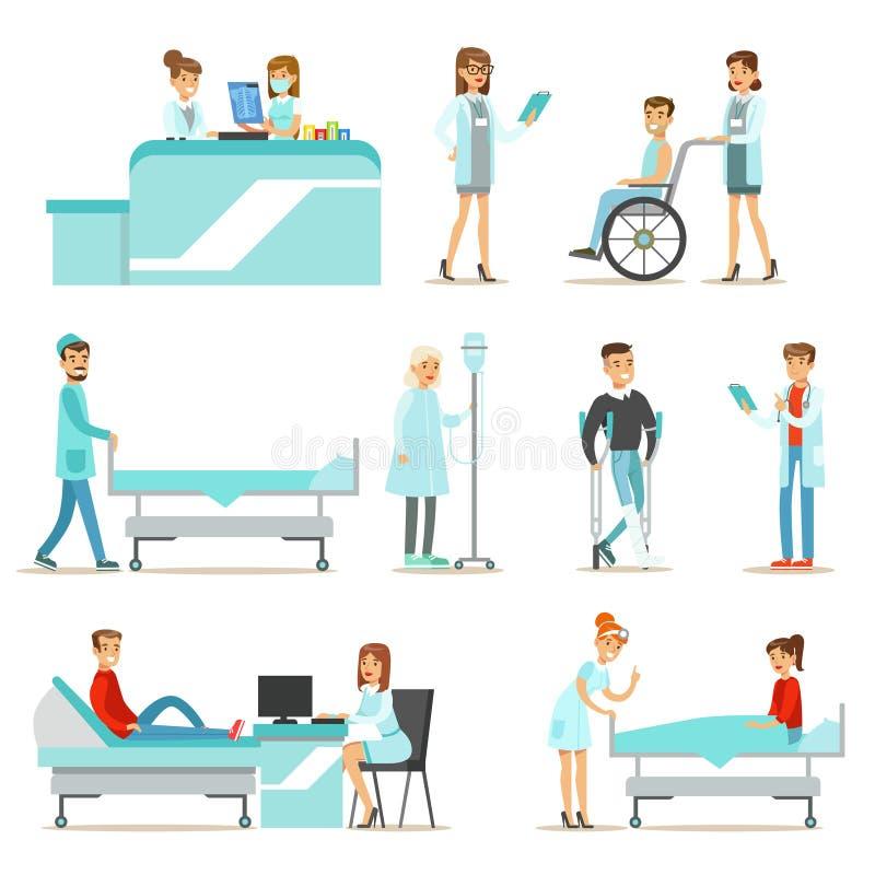 Pacientes heridos y enfermos en el hospital que recibe el tratamiento médico ilustración del vector