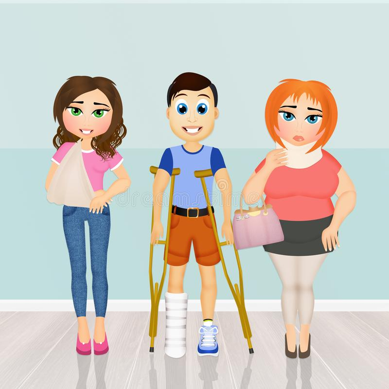 Pacientes para visitar ortopedia stock de ilustración