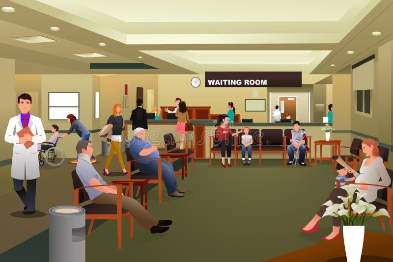 Pacientes que esperan en una sala de espera del hospital stock de ilustración