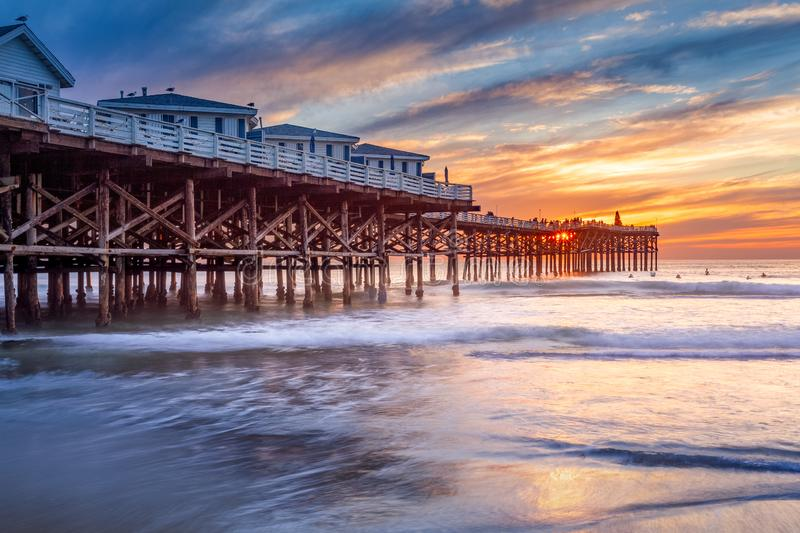 Pacific beach pier at sunset royalty free stock images
