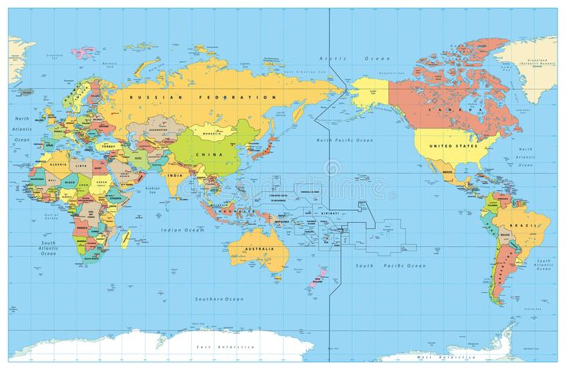 Pacific Centred World Colored Map. No Bathymetry stock illustration