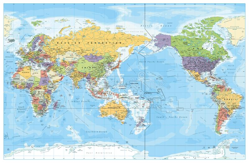 Pacific Centred World Political Map stock illustration