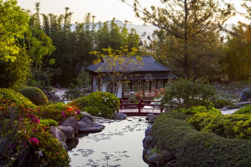 Japanese pagoda in zen garden. Pacific classic pagoda behind a red bridge in zen garden on a lily pond stock photo