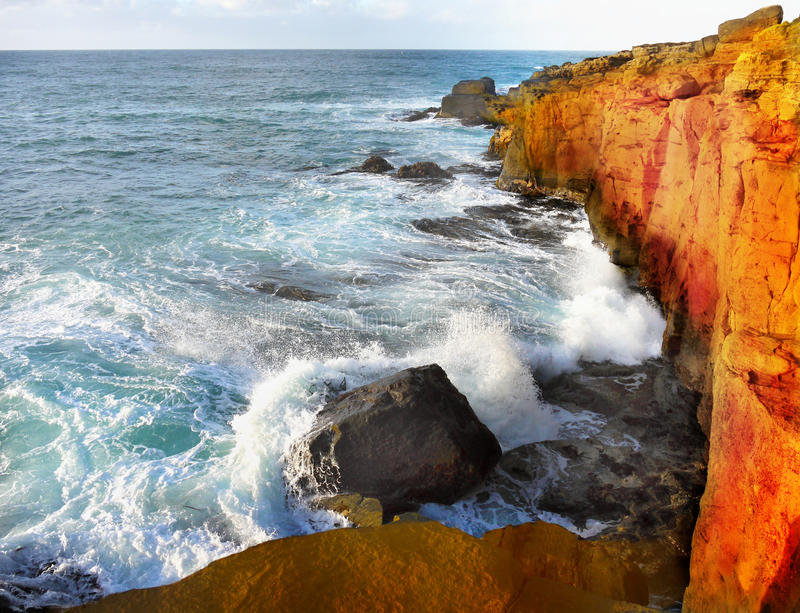Pacific Coast, Crashing Waves Cliffs stock photo