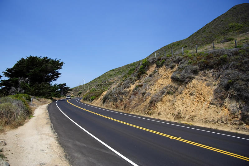 Pacific Coast Highway. The Pacific Coast Highway winds along the California coast royalty free stock image