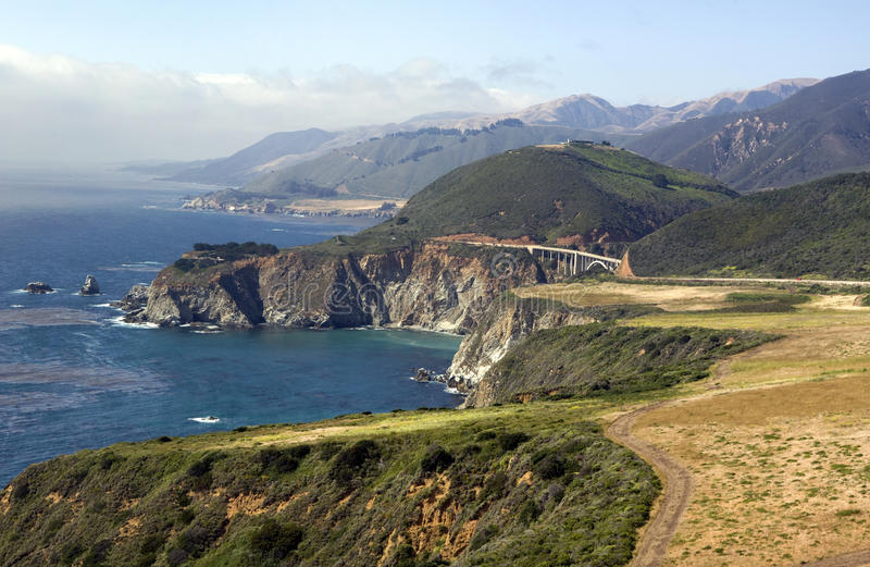 Pacific Coast Highway. Panoramic view of the subtle colors of northern California coastline along the Pacific Coast Highway between San Francisco and Los Angeles stock photography