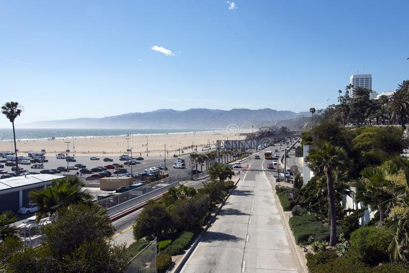 Pacific Coast Highway in Santa Monica. Junction of the Pacific Coast Highway and 10 Freeway in Santa Monica California royalty free stock photography