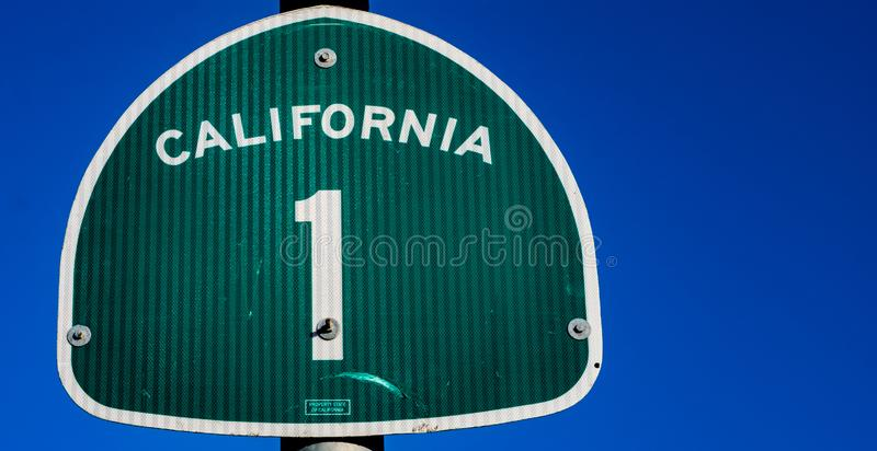 THe Pacific Coast Highway 1 sign in California. The famous Pacific Coast Highway 1 sign in California royalty free stock photography