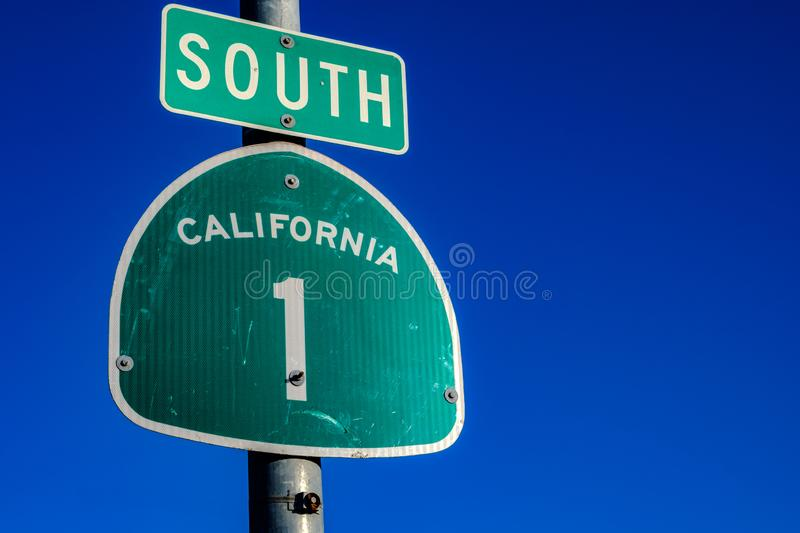 THe Pacific Coast Highway 1 sign in California. The famous Pacific Coast Highway 1 sign in California stock images