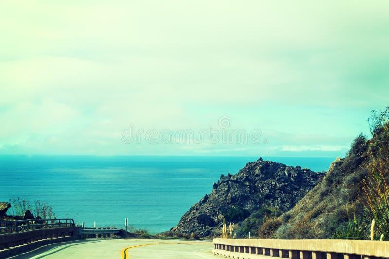 Pacific Coast Highway in vintage tone. California stock photo