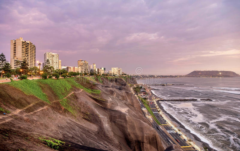 The Pacific coast of Miraflores in Lima, Peru.  stock images
