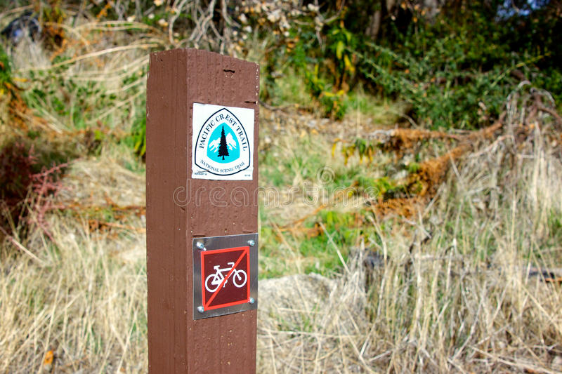 Pacific Crest Trail Marker. Wooden post marks the Pacific Crest trail in Angeles National Forest in southern California royalty free stock photo