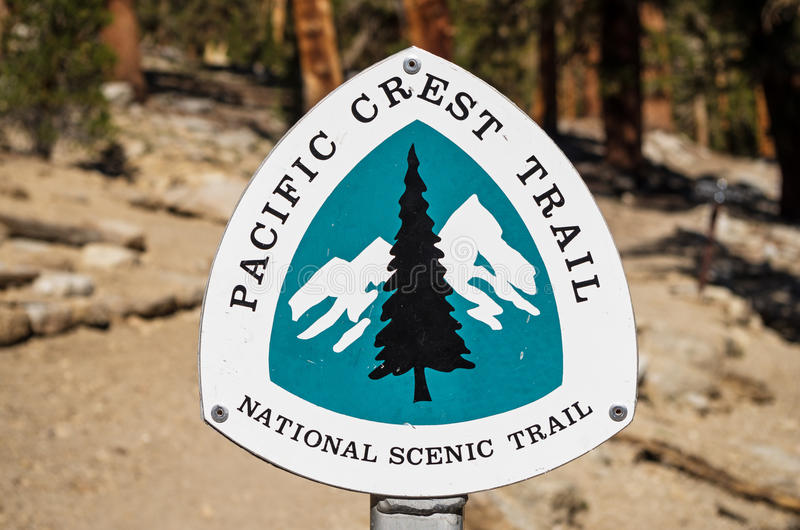 Pacific Crest Trail Sign. Pacific Crest Trail or PCT national scenic trail sign royalty free stock images