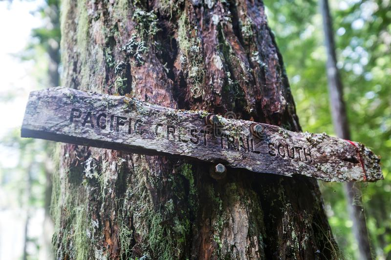 Pacific crest trail. Sign post for Pacific Crest Trail. Famous hiking trail in North America royalty free stock photography