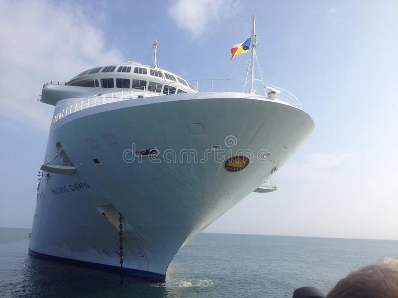 Pacific Dawn cruise ship front on royalty free stock photo