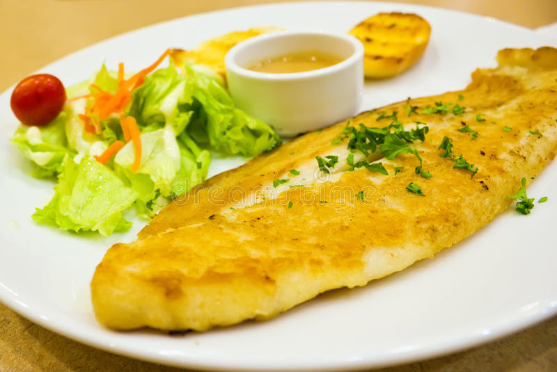 Pacific Dory Fish Steak With Salad Stock Images