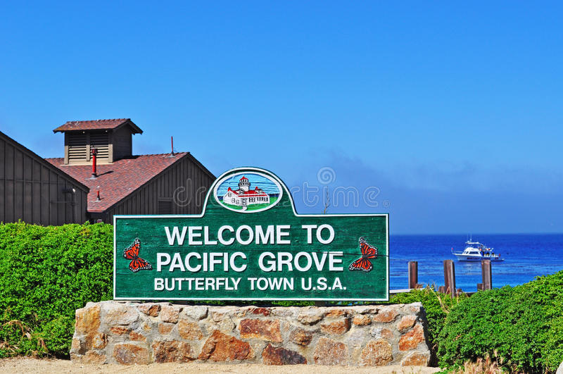 Pacific Grove, California, United States of America, Usa. California, Usa: welcome sign in Pacific Grove on June 16, 2010. Pacific Grove, the Butterfly town, is royalty free stock photos