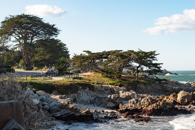 Rocky coastline on Pacific Grove, California. Pacific Grove is a coastal city in Monterey County, California in the United States royalty free stock photography