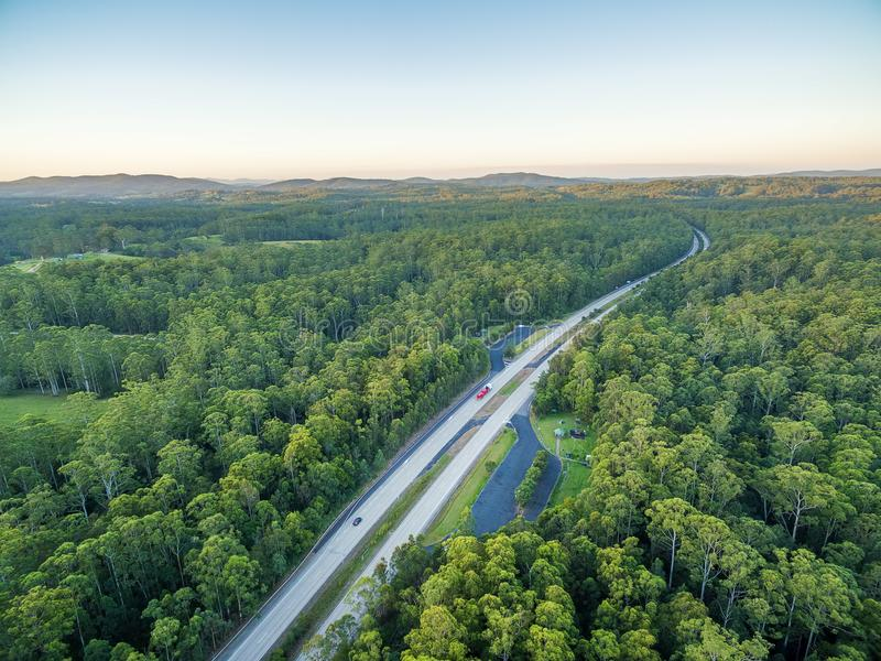 Pacific Highway winding through Australian forests. stock image