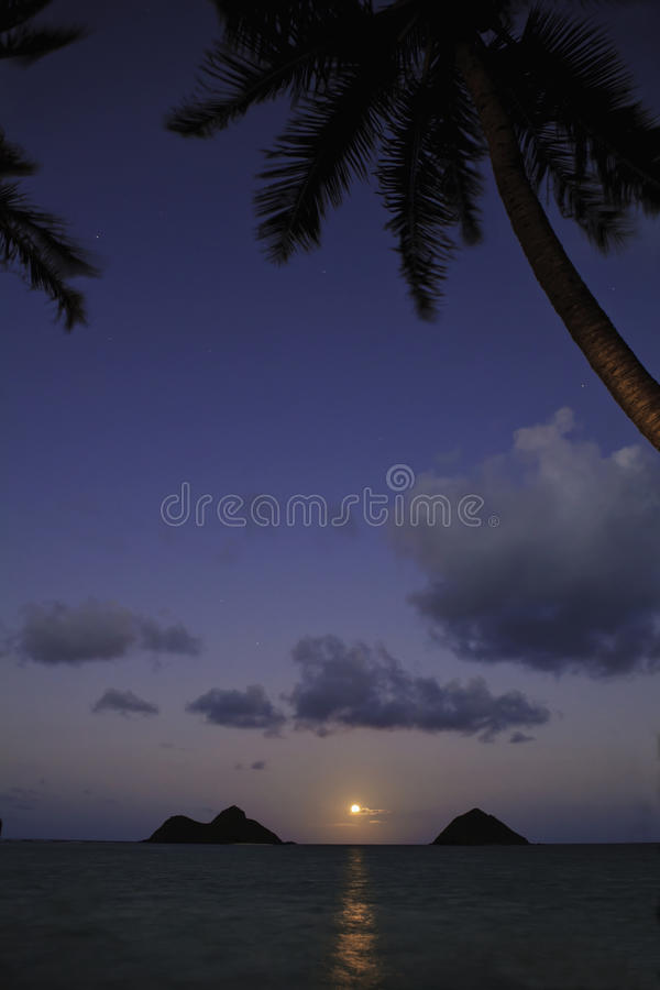 Pacific moonrise in hawaii royalty free stock photo