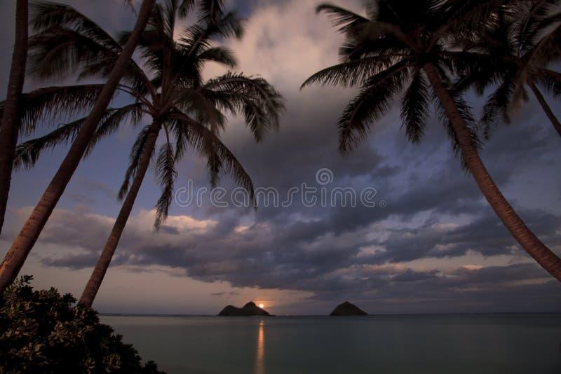 Pacific Moonrise At Lanikai Beach, Hawaii Stock Photo