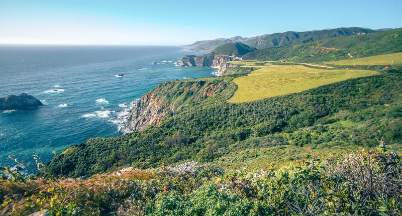 Pacific ocean big sur coatal beaches and landscapes stock photo