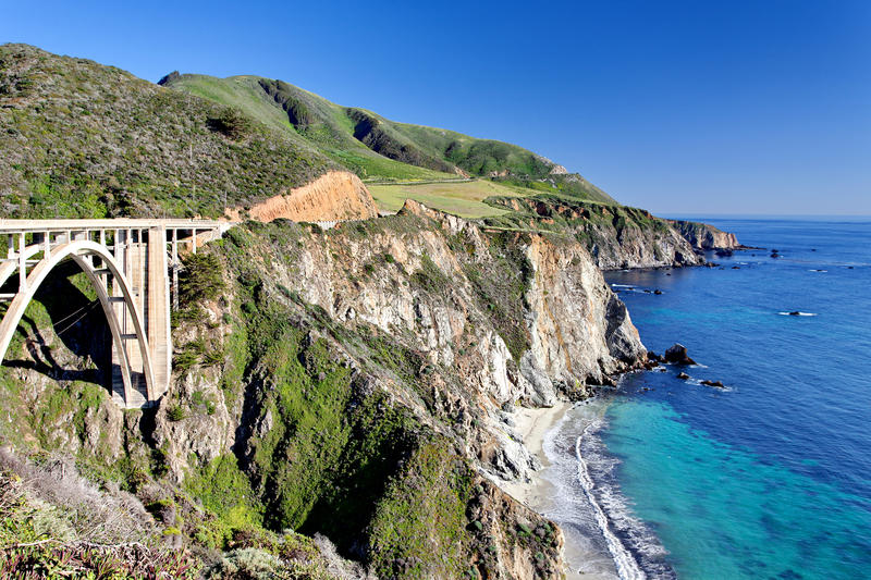 Pacific Ocean - California State Route 1 Pacific Coast Highway - Bixby Creek Bridge, Big Sur Area, California. United States stock images