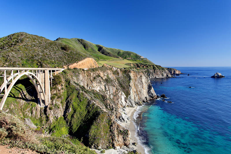 Pacific Ocean - California State Route 1 Pacific Coast Highway - Bixby Creek Bridge, Big Sur Area, California. United States stock photo