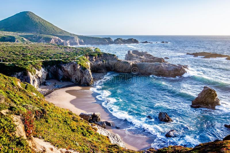 Pacific ocean coastal scenes of beaches rocks and cliffs royalty free stock image