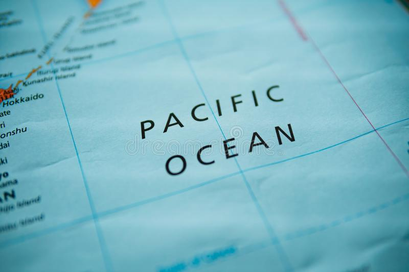 Pacific ocean on a map stock image
