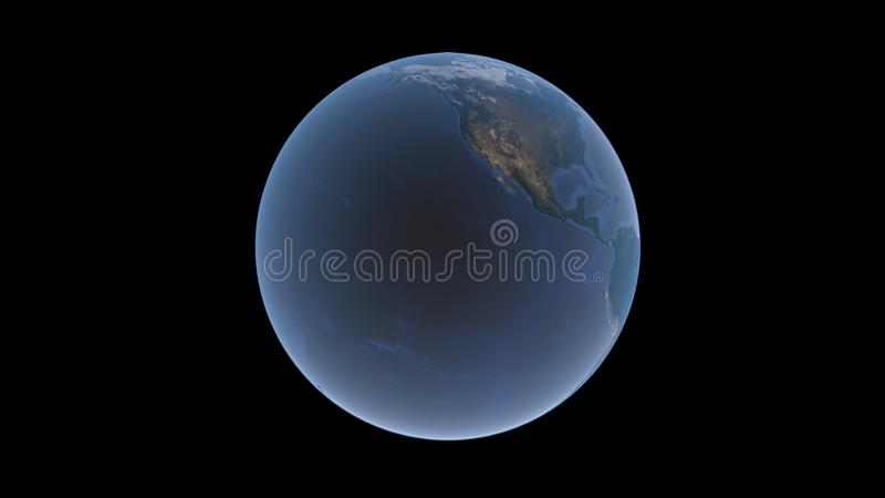 Pacific ocean and North America on the Earth ball, isolated globe on a black background, 3D rendering. royalty free illustration