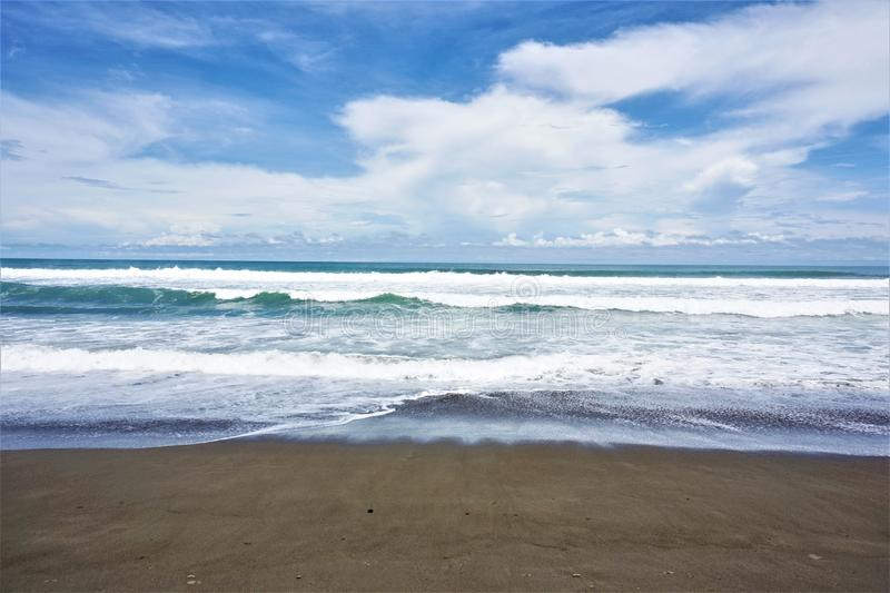 The Pacific Ocean at Playa Dominical. Costa Rica royalty free stock photos