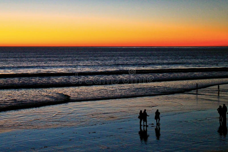 Pacific Ocean sunset in San Diego stock image