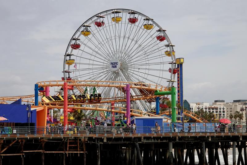 Pacific Park Amusement Rides on the Santa Monica Pier, California, USA stock image